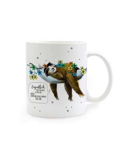 Tasse Faultier mit Punkten und Spruch Eigentlich hatte ich heute so viel vor Cup sloth with dots and saying actually I planned so much for today ts286