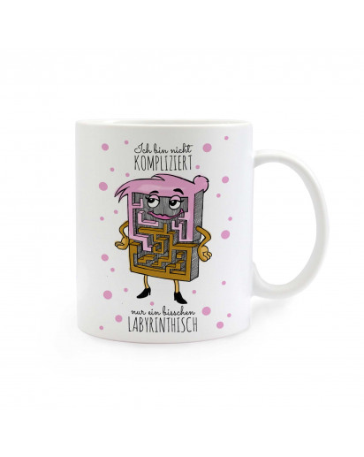 Tasse Frau Labyrinth mit Punkten und Spruch Ich bin nicht kompliziert... cup miss labyrinth with dots and saying i am not complicated… ts290