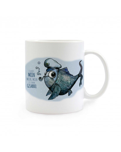 Tasse Käpt'n Fisch mit Spruch es heißt Moin... Cup captain fish with saying it's called moin… ts291