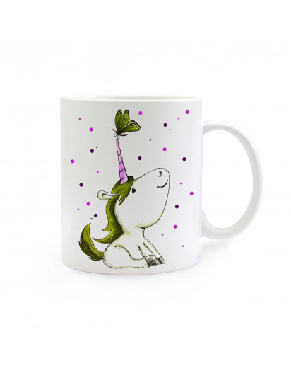 Tasse Einhorn Einhorntasse mit Schmetterling und Punkten grün lila cup unicorn with butterfly and dots green purple ts297
