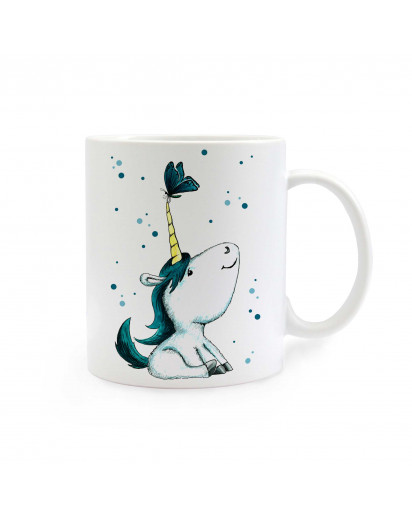 Tasse Becher Kindertasse Kinderbecher Kaffeetasse Kaffeebecher Einhorntasse Einhorn mit Schmetterling und Punkten türkis cup mug coffee cup coffee mug children cup children mug unicorn with butterfly and dots turquoise ts298