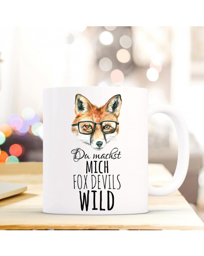 Tasse Fuchs mit Brille und Spruch du machst mich fox devils wild cup fox with glasses saying you make me fox devils wild ts299