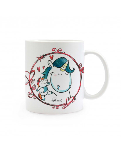 Tasse Becher Kaffeetasse Kaffeebecher Kindertasse Kinderbecher Einhorntasse Einhörner mit Herzen und Wunschnamen cup mug children cup children mug coffee cup coffee mug unicorn cup unicorns with hearts with desired name ts301
