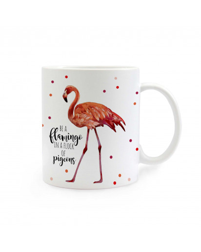 Tasse Becher Kaffeetasse Kaffeebecher Kindertasse Kinderbecher Flamingo mit Punkten und Spruch be a flamingo... Mug cup coffee mug coffe cup child mug child cup flamingo with dots saying be a flamingo… ts304