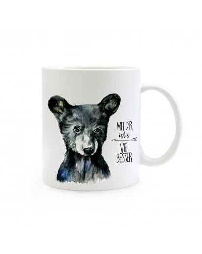 "Tasse Bär mit Spruch ""Mit dir ist's viel besser"" Cup bear with qoute saying ""with you it's much better"" ts308"