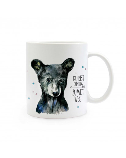 Tasse Bär mit Spruch du bist eindeutig zu weit weg Cup bear with qoute saying you are clearly too far away ts309