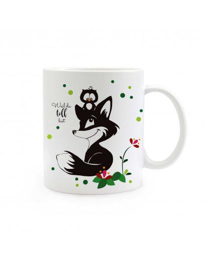 Tasse Fuchs und Eule mit Blumen Punkten und Spruch weil du toll bist ts311