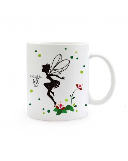 Tasse Elfe Fee mit Blumen Punkte und Spruch weil du toll bist ts314