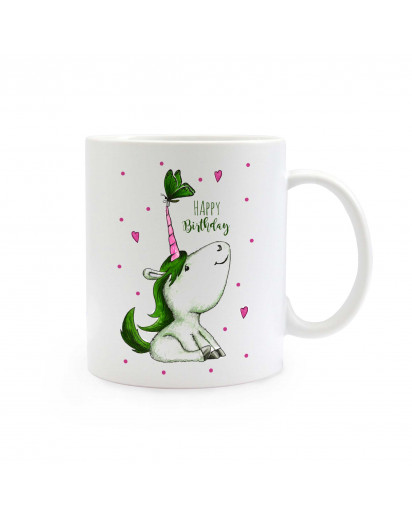 Tasse Becher Kaffeetasse Kaffeebecher Kindertasse Kinderbecher Einhorn mit Schmetterling Herzen Punkten und Spruch Happy Birthday cup mug coffee cup coffee mug children cup children mug unicorn with butterfly hearts dots and quote happy birthday ts322