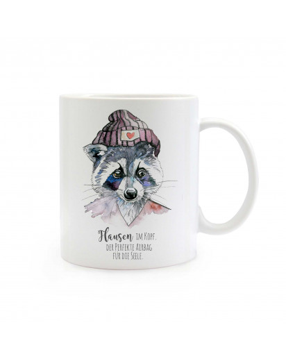 Tasse Waschbär mit Mütze und Spruch Flausen im Kopf Cup raccoon with cap and quote saying nonsense in the head ts326