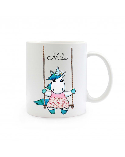 Tasse Becher Kaffeetasse Kaffeebecher Kindertasse Kinderbecher Einhorntasse Einhornbecher Einhorn auf Schaukel mit Wunschnamen cup mug coffee cup coffee mug children mug children cup unicorn on swing with custom name ts334