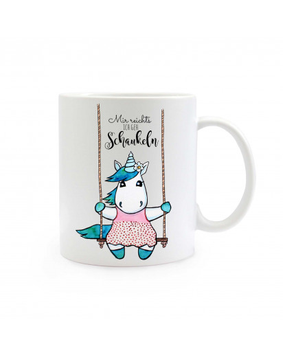 "Tasse Becher Kindertasse Kinderbecher Kaffeetasse Kaffeebecher Einhorntasse Einhornbecher Einhorn auf Schaukel mit Spruch ""Mir reicht's ich geh schaukeln"" cup mug coffee cup coffee mug children cup children mug unicorn on swing with saying I have enough I"