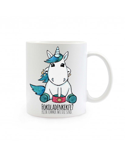 "Tasse Becher Kaffeetasse Kaffeebecher Kindertasse Kinderbecher Einhorntasse Einhornbecher Einhorn mit Keksen und Spruch ""Fokoladenkekfe? Kein Fimmer wo die sind"" cup mug coffee cup coffee mug children cup children mug unicorn with cookies and saying ""foco"