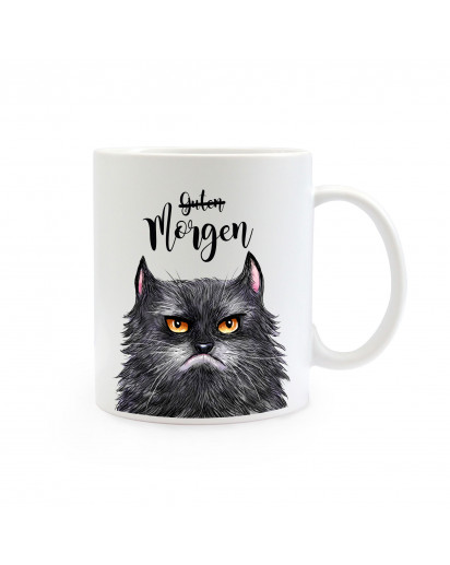 Tasse Becher Kaffeetasse Kaffeebecher Kindertasse Kinderbecher grimmige Katze mit Spruch Guten Morgen Cup mug children mug children cup coffee mug coffee cup grim cat with saying good morning ts358