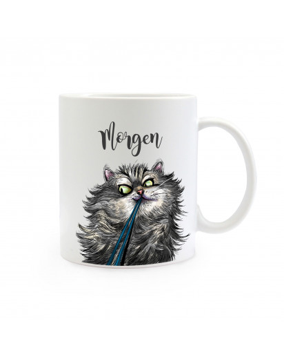 Tasse Becher Kaffeetasse Kaffeebecher Kindertasse Kinderbecher Katze Kater mit Spruch Zitat Morgen cup mug coffee cup coffee mug children cup children mug cat tomcat with saying morning ts384