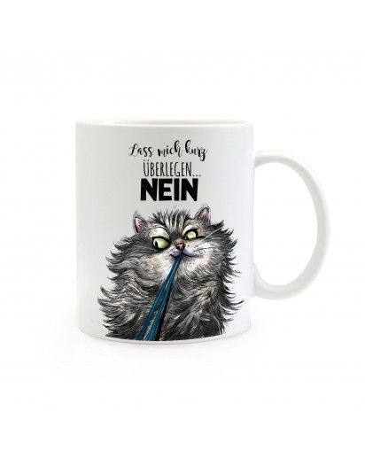 Tasse Becher Kindertasse Kinderbecher Kaffeetasse Kaffeebecher Katze Kater mit Spruch Zitat lass mich überlegen… NEIN cup mug coffee cup coffee mug children cup children mug cat tomcat with saying quote let me think about it… NO ts387