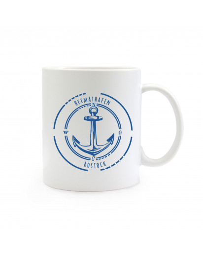 Tasse Anker Kompass mit Spruch Heimathafen Rostock maritim ts400