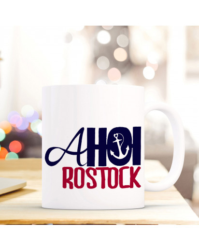 Becher Tasse Kaffeetasse Kaffeebecher Maritim mit Anker und Spruch Ahoi Rostock Cup mug maritim with anchor and quote saying Rostock ahoy ts418_H.jpg