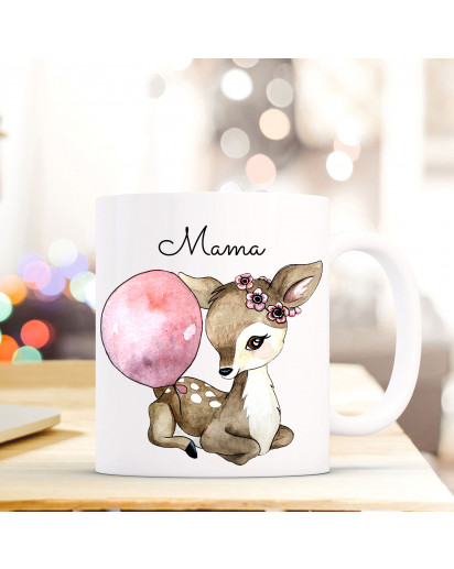 Becher Tasse Kaffeetasse Kaffeebecher Reh Rehkitz mit Luftballon und Spruch Mama Cup mug coffee mug deer fawn with balloon and quote saying mama ts426_H.jpg
