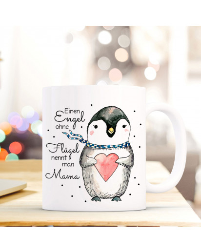 Becher Tasse Kaffeetasse Kaffeebecher Pinguin mit Spruch Einen Engel ohne Flügel nennt man Mama Cup mug coffee mug penguin with heart and quote saying an angel without wings is called mom ts427_H.jpg