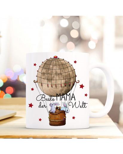 Becher Tasse Kaffeetasse Kaffeebecher Ballonfahrt mit Hasen Waschbär und Spruch Beste Mama der Welt Cup mug coffee mug balloon ride with bunnies raccoon and quote saying best mom in the world ts428_H.jpg