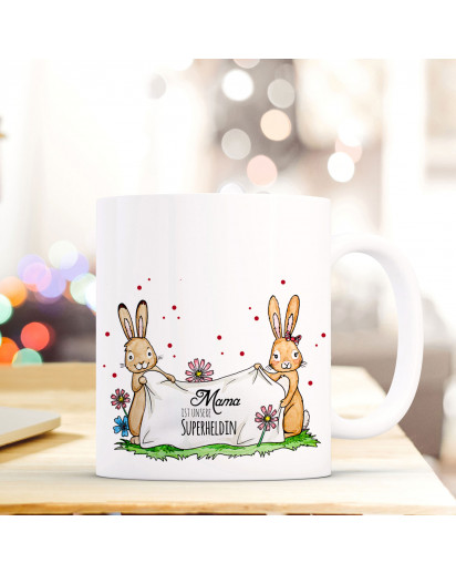 Tasse Becher Kaffeetasse Kaffeebecher zum Muttertag mit Hasen Punkten und Spruch Mama ist unsere Superheldin Cup mug coffee cup coffee mug for mother's day with rabbits dots and quote saying mum is our superhero ts431_H.jpg