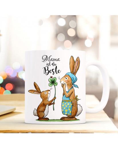 Tasse Becher Kaffeetasse Kaffeebecher zum Muttertag mit Hasen Punkten und Spruch Mama ist die Beste Cup mug coffee cup coffee mug for mother's day with rabbits dots and quote saying mum is the best ts433_H.jpg