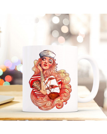 Tasse Becher Kaffeetasse Kaffeebecher Maritim mit Seemannsbraut und Segelschiff Cup mug coffee cup coffee mug maritime with seaman's bride and sailing ship ts439_H.jpg