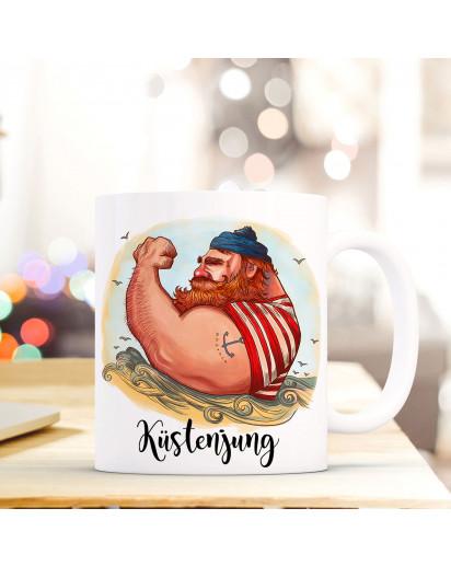 Tasse Becher Kaffeetasse Kaffeebecher Maritim mit Kapitän Seemann und Spruch Küstenjung Cup mug coffee cup coffee mug maritime with seaman and quote saying coastal boy ts443_H.jpg