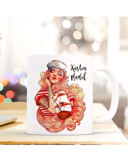Tasse Becher Kaffeetasse Kaffeebecher Maritim mit Seemannsbraut Segelschiff und Spruch Küstenmädel Cup mug coffee cup coffee mug maritime with seaman's bride sailing ship and quote saying coastal girl ts444_H.jpg