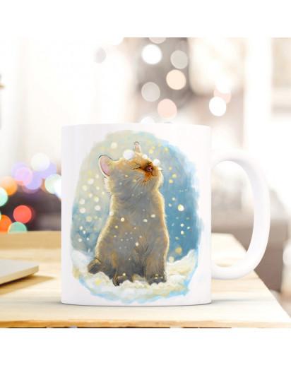 Tasse Becher Katze im Winter Spruchbecher Kaffeebecher Geschenk Weihnachtsgeschenk Katzentasse ts512