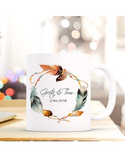 Tasse Becher mit Federkranz Namen Wunschnamen & Wunschdatum Hochzeitstag Kaffeebecher Geschenk Hochzeit ts609