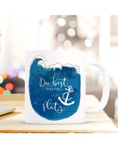 Maritime Tasse Becher Kaffeetasse mit Meer & Anker Spruch Kaffeebecher Geschenk du bist mein Ankerplatz ts660