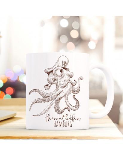 Maritime Tasse Becher Käpt'n Krake Kaffeetasse Kaffeebecher Geschenk mit Octopus Motto Spruch Heimathafen Hamburg ts662
