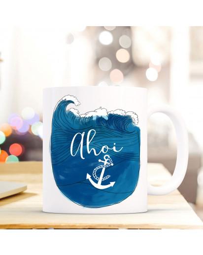 Maritime Tasse Becher Kaffeetasse mit Meer & Anker Kaffeebecher Geschenk mit Motto Spruch Ahoi ts663
