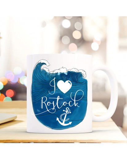 Maritime Tasse Becher Kaffeetasse mit Meer & Anker Kaffeebecher Geschenk mit Motto Spruch I love Rostock ts665