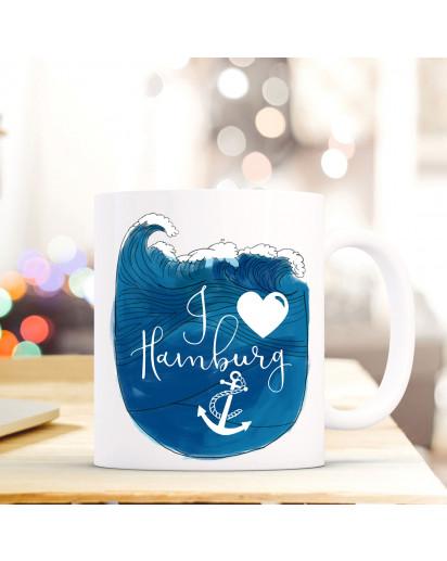 Maritime Tasse Becher Kaffeetasse mit Meer & Anker Kaffeebecher Geschenk mit Motto Spruch I love Hamburg ts666
