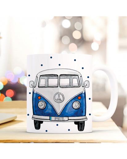Tasse Becher Kaffeetasse Kaffeebecher Surfbus mit Name Wunschname und Spruch ts669
