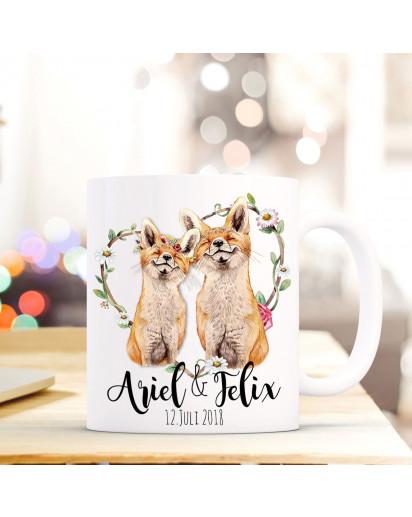 Tasse Becher Kaffeebecher mit Fuchspärchen Füchse Paar & Wunschnamen Kaffeebecher Geschenk ts670