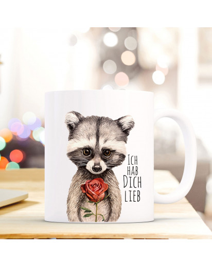 Tasse Becher Kaffeebecher mit Waschbär & Spruch Ich hab dich lieb Kaffeebecher Geschenk ts672