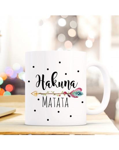 Tasse Becher Kaffeebecher mit Spruch & Punkte Hakuna Matata Kaffeebecher Geschenk ts673