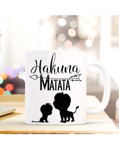 Maritime Tasse Becher Kaffeebecher mit Löwen & Spruch Hakuna Matata Kaffeebecher Geschenk ts677