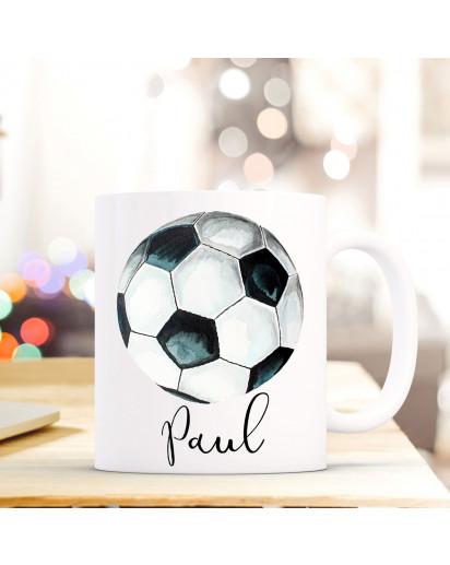 Tasse Becher Kaffeetasse mit Fußball Ball Wunschnamen Name Geschenk Fußballer Meisterschaft ts708