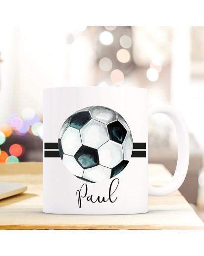 Tasse Becher Kaffeetasse mit Fußball Ball Sreifen Wunschnamen Name Geschenk Fußballer Meisterschaft ts709