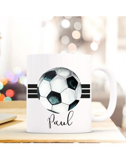 Tasse Becher Kaffeetasse mit Fußball Ball Streifen Wunschnamen Name Geschenk Fußballer Meisterschaft ts710