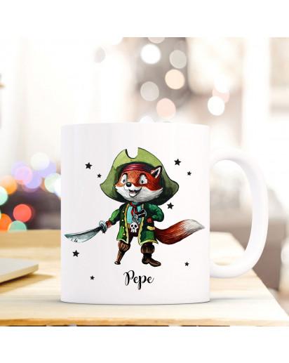 Tasse Becher mit Piraten Fuchs & Sebel Geschenk mit Tiermotiv Kaffeetasse Fuchstasse mit Namen Wunschnamen Kaffeebecher ts772