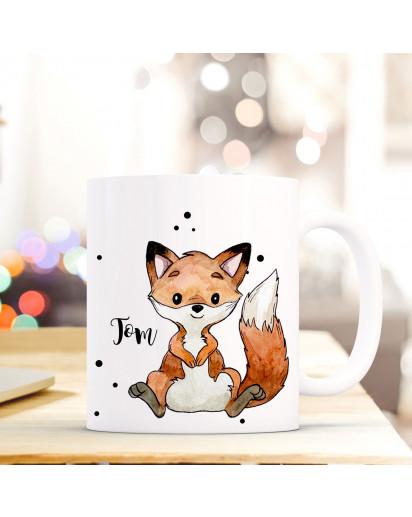 Tasse Becher mit Fuchs & Punkte Geschenk mit Tiermotiv Kaffeetasse Fuchstasse mit Namen Wunschnamen Kaffeebecher ts774