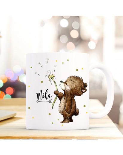 Tasse Becher mit Bär Bärchen & Pusteblume Geschenk mit Tiermotiv Kaffeetasse Bärchentasse mit Namen Wunschnamen Kaffeebecher ts777