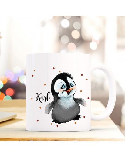 Tasse Becher mit Pinguin & Punkte Geschenk mit Tiermotiv Kaffeetasse Pinguintasse mit Namen Wunschnamen Kaffeebecher ts779
