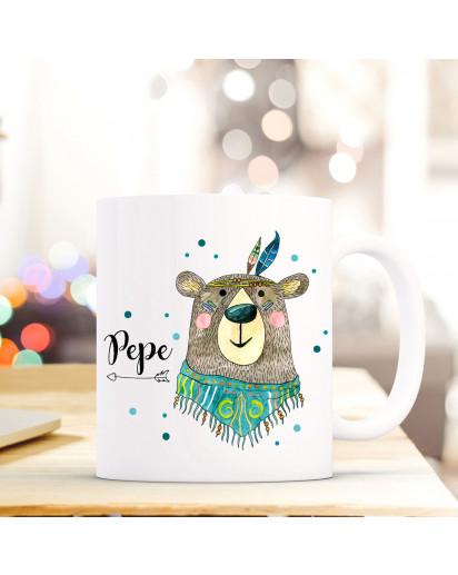 Tasse Becher mit Boho Bär Bärchen Geschenk mit Tiermotiv Kaffeetasse Bärentasse mit Namen Wunschnamen Kaffeebecher ts780